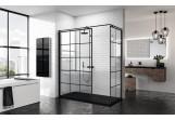 Wand - Walk-in Novellini Kuadra H Black 80 cm, profil schwarz, Glas transparent, wzór quadratisch