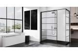 Wand - Walk-in Novellini Kuadra H Black 80 cm, profil schwarz, Glas transparent, wzór pasy