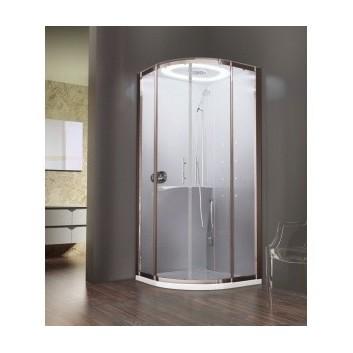 Kabine Novellini EON masażowo-Dampf-, 90x90 cm, silbernes Profil, Glas mit Schicht Crystal Clear- sanitbuy.pl