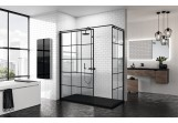 Wand - Walk-in Novellini Kuadra H Black 100 cm, profil schwarz, Glas transparent, wzór quadratisch